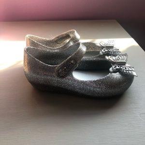 Silver glitter mini Melissa flats